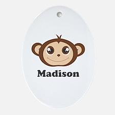 Custom Name Cute Happy Monkey Ornament (Oval)