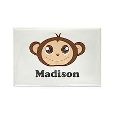 Custom Name Cute Happy Monkey Rectangle Magnet