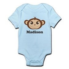 Custom Name Cute Happy Monkey Infant Bodysuit