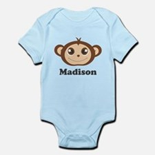 Custom Name Cute Happy Monkey Infant Bodysuit