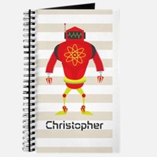 Personalized Kids Red Retro Robot Journal