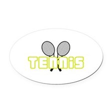 OPEN TENNIS W RAQUETS Oval Car Magnet