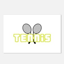 OPEN TENNIS W RAQUETS Postcards (Package of 8)