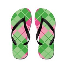 Pink-Green Argyle Flip Flops