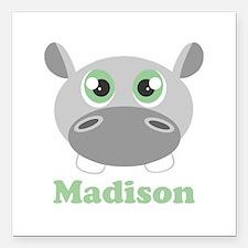 "Custom Name Cute Hippo Square Car Magnet 3"" x 3"""