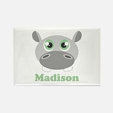 Custom Name Cute Hippo Rectangle Magnet