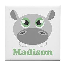Custom Name Cute Hippo Tile Coaster
