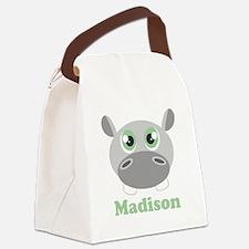 Custom Name Cute Hippo Canvas Lunch Bag