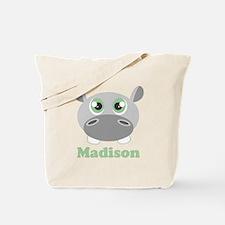 Custom Name Cute Hippo Tote Bag