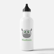 Custom Name Cute Hippo Water Bottle
