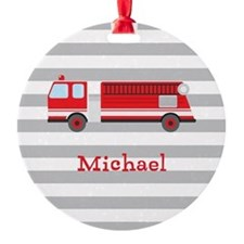 Personalized Kids Red Fire Truck Ornament