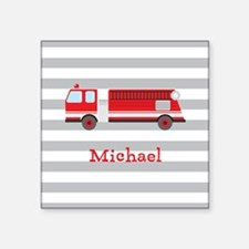 Personalized Kids Red Fire Truck Sticker