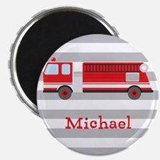 Personalized Kids Red Fire Truck Magnets