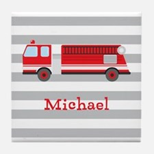 Personalized Kids Red Fire Truck Tile Coaster
