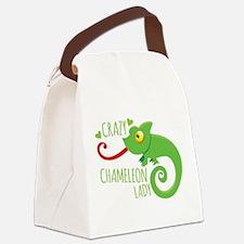 Crazy Chameleon Lady Canvas Lunch Bag