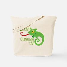 Crazy Chameleon Lady Tote Bag