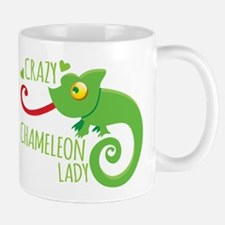 Crazy Chameleon Lady Mugs