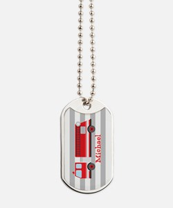Personalized Kids Red Fire Truck Dog Tags
