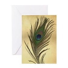 Vintage Peacock Feather Greeting Cards