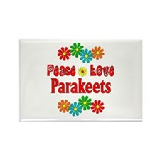 Peace Love Parakeets Rectangle Magnet
