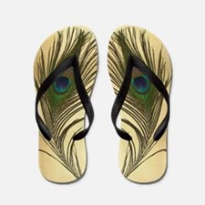 Peacock Feather Elegant Vintage Look Flip Flops
