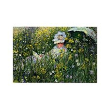 Monet - In the Meadow Rectangle Magnet
