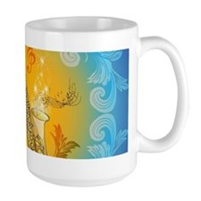 Saxophone with clef in soft yellow, blue color Mug