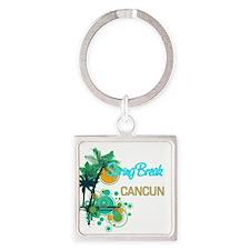 Palm Trees Circles Spring Break CANCUN Keychains