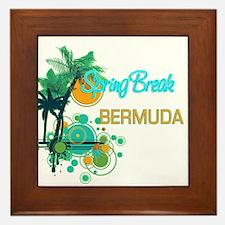 Palm Trees Circles Spring Break BERMU Framed Tile