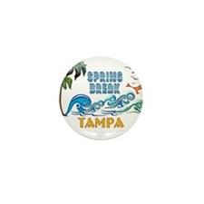 3D Palms Waves Sunset Spring Break TAM Mini Button