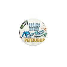 3D Palms Waves Sunset Spring Break ST Mini Button