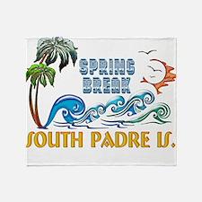 3D Palms Waves Sunset Spring Break S Throw Blanket