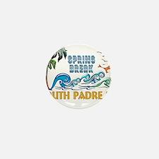 3D Palms Waves Sunset Spring Break S P Mini Button