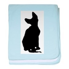 cornish rex silhouette baby blanket