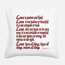 1 Corinthians 13:4-7 Square Canvas Pillow