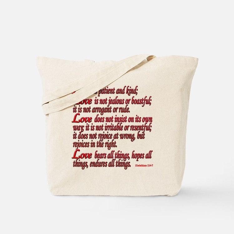 1 Corinthians 13:4-7 Tote Bag