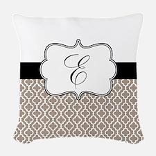 Beige Black Quatrefoil Monogram Woven Throw Pillow