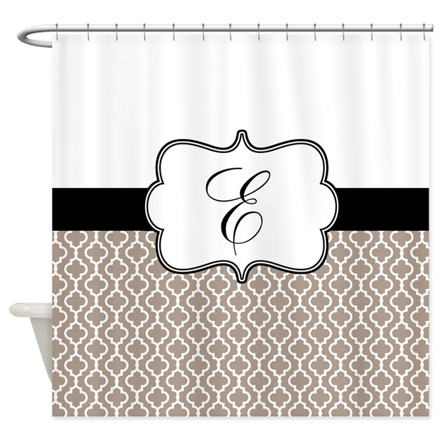 Beige Black Quatrefoil Monogram Shower Curtain By