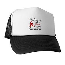 Heart Disease Red Ribbon Trucker Hat