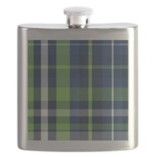 Lime and Blue Plaid Flask