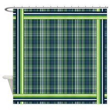 Lime and Blue Plaid Shower Curtain