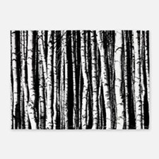 black and white birch trees 5'x7'Area Rug