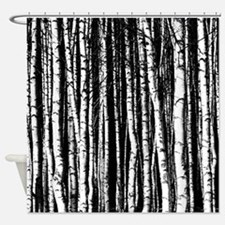 black and white birch trees Shower Curtain