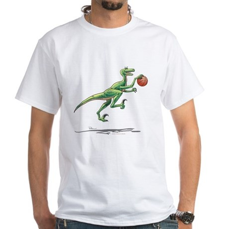 Raptor with Basketball White Dinosaur T-Shirt