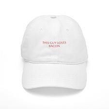 This guy loves bacon-Opt red Baseball Baseball Cap