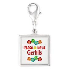 Peace Love Gerbils Silver Square Charm