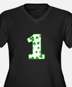 Lucky Shamrock Patterned Number Plus Size T-Shirt