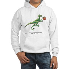 Raptor with Basketball Hooded Dinosaur Sweatshirt