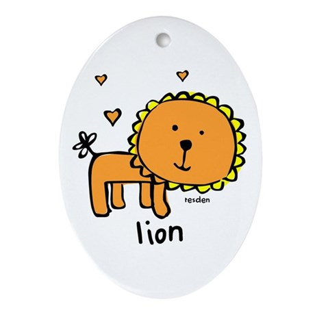 Resden Cute Lion Oval Ornament