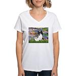 Lilies (2) & Papillon Women's V-Neck T-Shirt